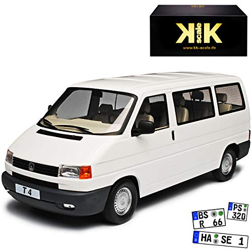 KK-Scale Volkwagen T4 Caravelle Bus Personen Transporter Weiss 1990-2003 1/18 Modell Auto mit individiuellem Wunschkennzeichen