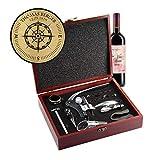 AMAVEL Sommelier Set mit 10 Wein-Accessoires, Geschenkbox aus Holz mit Plakette und Personalisierter Kompass-Gravur, Geschenkidee für Weinliebhaber