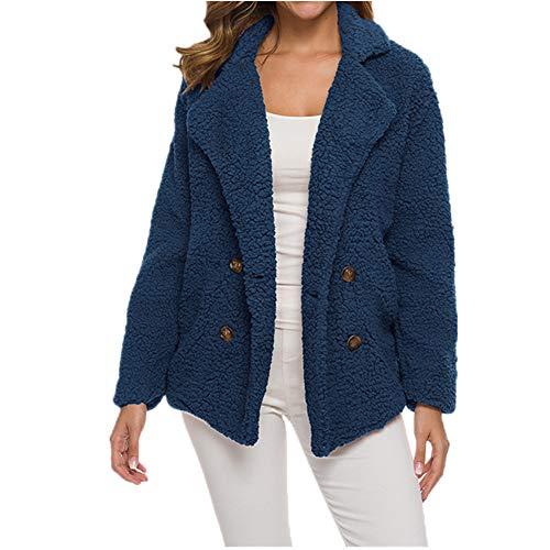 Herbst und Winter Kaschmir Verdickt Damen Pullover Lammwolle Mantel Damen Mantel Gr. 54, blau