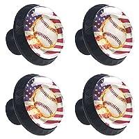ドレッサーノブハードウェアラウンドノブ、取り付けネジ付きオフィスバスルームキッチンデコレーション用引き出しプル(4個)アメリカの国旗野球バッグ