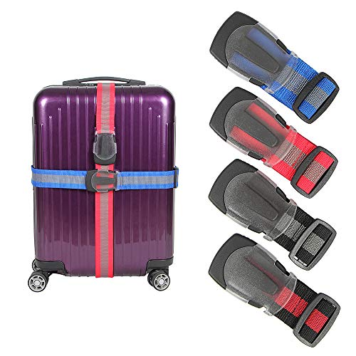 Luggage Straps,Adjustable Suitcase Belts Straps, Heavy Duty Nonslip Packing Belt with Buckle,Tough & Big Quick Release Buckle,Multicolour,180cmx4.5cm,4 Pack