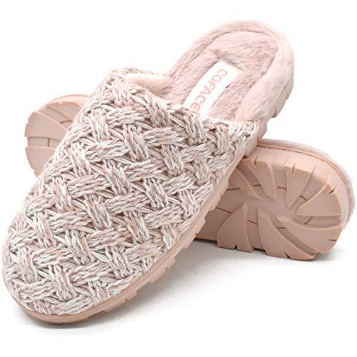 COFACE Rosa Zapatillas Casa Mujer Pantuflas de Espuma Viscoelástica de Invierno Antideslizante Zapatos de Lana Cálido con Interior y Exterior Talla 38EU