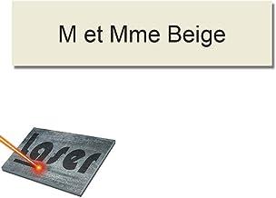 Mygoodprice Naambordje voor brievenbus, zelfklevend, 10 x 2,5 cm, personaliseerbaar, 1 tot 3 regelen, beige