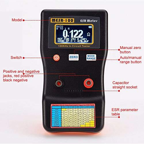 Digitalkondensator-Messgerät-Tester 0,001 bis 100R MESR-100 V2 Automatische Bereichswahl im Stromkreis ESR LCR-Messgerät-Kondensator/geringe Unterstützung im Stromkreis-Tester