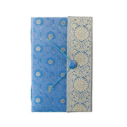 Sari Journal Extra Grande 13,5 cm x 21,5 cm – Azul – Papel reciclado sin forro, cierre elástico, cuaderno y diario – Regalo de papelería india – Para hombres y mujeres estudiantes – Tela Sari