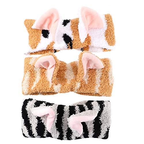 PIXNOR 3 Piezas de Orejas de Gato Cinta para Lavar La Cara Maquillaje Suave Elástica Cinta para Spa Cinta Facial Lavable Cabeza para Envolturas para La Mujer Niña Color Mixto