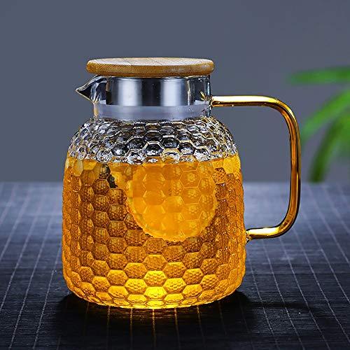 2.1 Liter 70 Unzen Glas Karaffe Krug mit Deckel und Auslauf, Wasserkaraffe, Eistee Krug, Saft Krug, für hausgemachte Getränke/Eistee/Milch/Kaffee/Wein