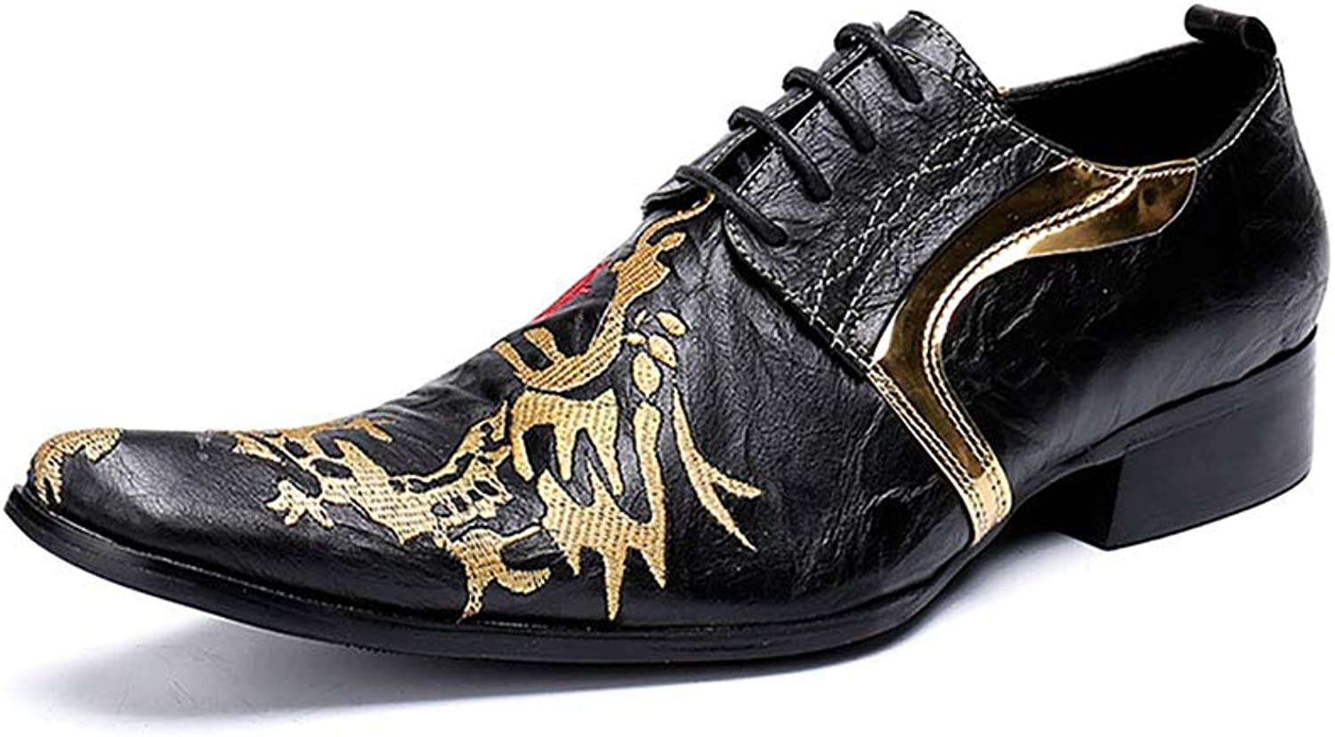 SHOES Mens Leather golden Dragon Pattern Pointed Toe Lace-Up Rock Singer Casual for Nightclub,Business,Wedding,Casual,Office,Party