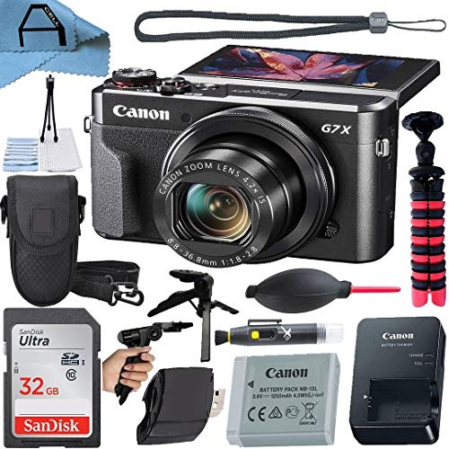 Canon PowerShot G7 X Mark II Digital Camera 20.1MP Sensor with SanDisk 32GB Memory Card, Case, Tripod and A-Cell Accessory Bundle (Black)