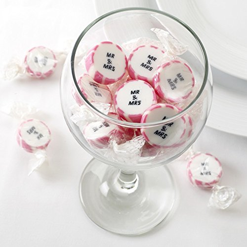 Premium Weddings Hochzeitsbonbons 'Mr & Mrs' pink 50 Stück - Gastgeschenke Hochzeit Bonboniere Candy Bar Give Aways - Rock Sweets Wedding Strawberry Flavour - Bonbons Hochzeit Erdbeer-Geschmack