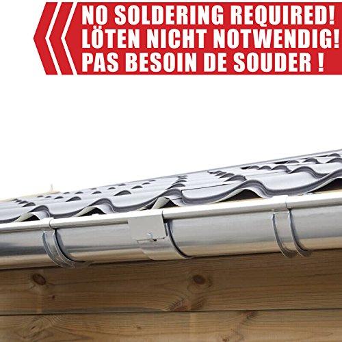Zink Dachrinnen/Regenrinnen Set   Satteldach (2 Dachseiten)   in Titanzink/Verzinkt/Anthrazit! Ideal für Gartenhaus oder Blockhaus. (Verlängerungsset 170 cm [Type 110], Verzinkt)