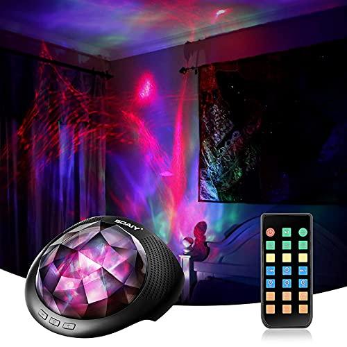 SOAIY Bluetooth LED Farbwechsel Nachtlicht Projektor Lampe Polarlicht Projektion Einschlaflicht mit Fernbedienung Timer installierte Naturgeräusche für Schlafzimmer Kinderzimmer Schwarz