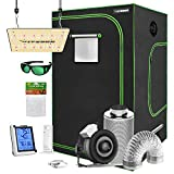 VIVOSUN Grow Tent Complete Kit, 60'x60'x80' Growing Tent with VS1000 Led Grow Light 6 Inch 440 CFM Inline Fan Carbon Filter and 8ft Ducting Combo
