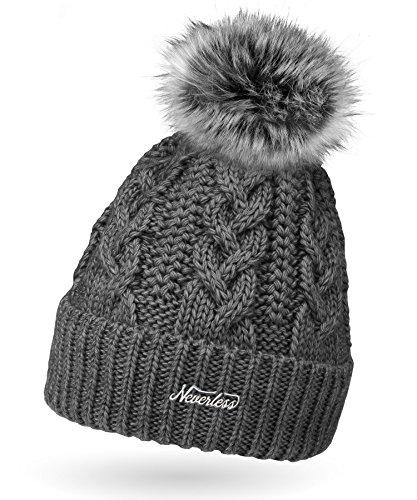 Neverless Damen Strick-Mütze gefüttert mit Fell-Bommel, Kunstfell, Winter-Mütze, Bommelmütze, dunkelgrau Unisize
