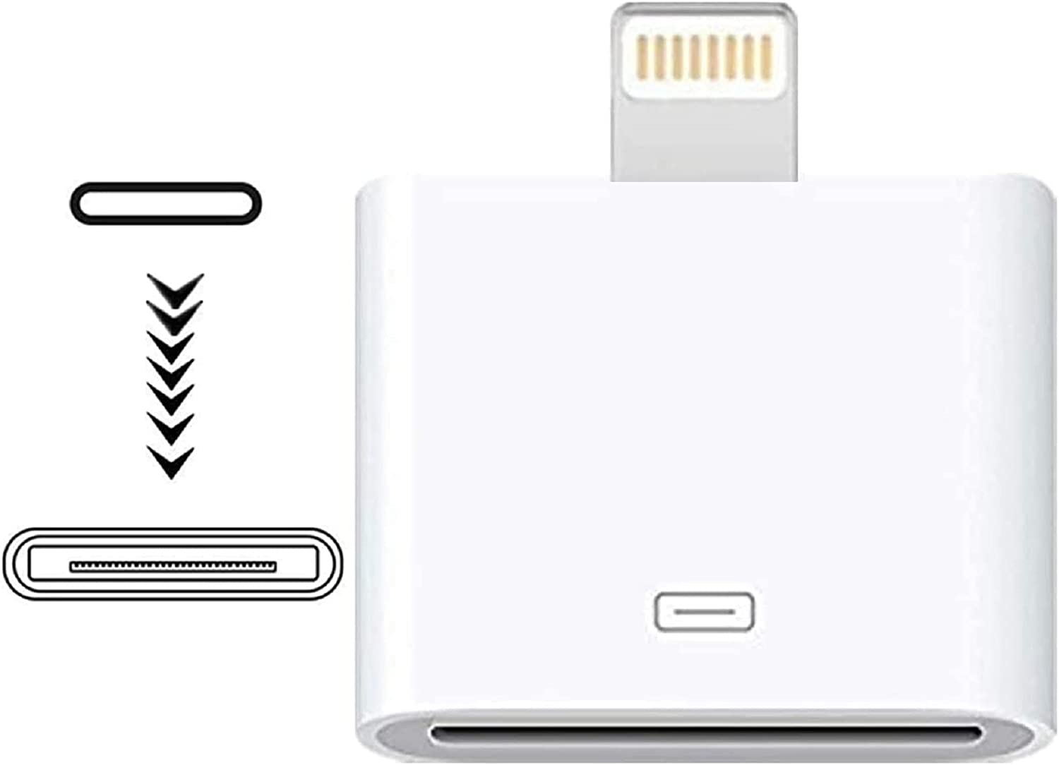 Giom Lightning to 30 Pin Adapter,MFi Certified Male to 30 Pin Female Connector Converter with iPhone Lightning Charger Cable Cord Compatible iPhone 12 11 X 8 7 6P 5S 4S 4 3 3G/iPad/iPod (White)