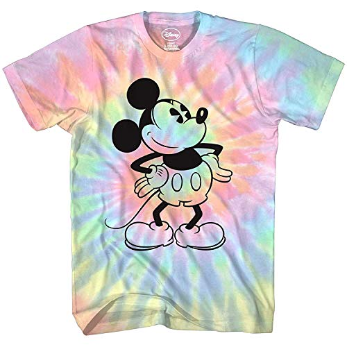 Mickey Mouse Attitude Tie Dye Classic Vintage Disneyland World Mens Adult Graphic Tee T-Shirt Apparel (Blue Tie Dye, X-Large)