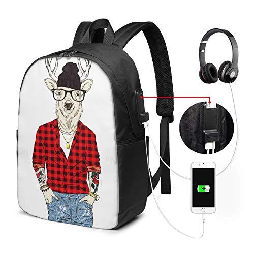 Mochila Portatil 17 Pulgadas Mochila Hombre Mujer con Puerto USB, Gafas Ciervo Disfrazado Mochila para El Laptop para Ordenador del Trabajo Viaje
