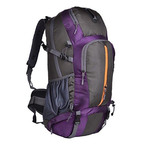 Sacs D'alpinisme En Plein Air Yy.f Les Hommes Et Les Femmes 50L Sac à Dos Deux Grands Sacs à Dos De Capacité Compartiment Ordinateur. Multicolore,Purple-35*25*60cm