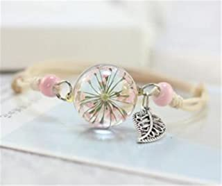 Tmrow 1pc Plant Specimens Dried Flowers Crystal Glass Bracelets,Pink