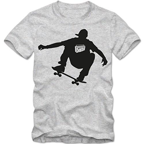 Skate T-Shirt |Herren | Skater | Skateboard | Tee | Funsport, Farbe:Graumeliert (Grey Melange);Größe:XL