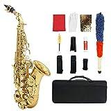 WGE Saxofones B-Flat Soprano Professional Playing Principiante Agudos curvos pequeños con Bolso Instrumentos de Viento,Oro