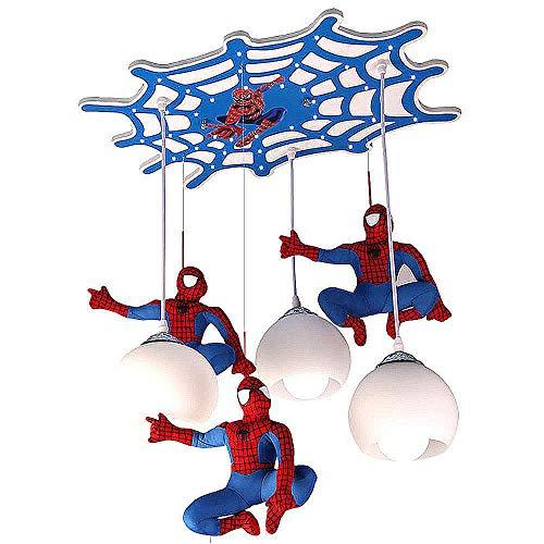 Creative Plafonnier Pendentif Lumière Enfants Chambre Plafonnier Lampe Chambre Lumière Salle À Manger Lampe Suspendue Dessin Animé Spiderman Conception Abat-Jour En Verre Salon Garçon Fille E27 Ø57CM