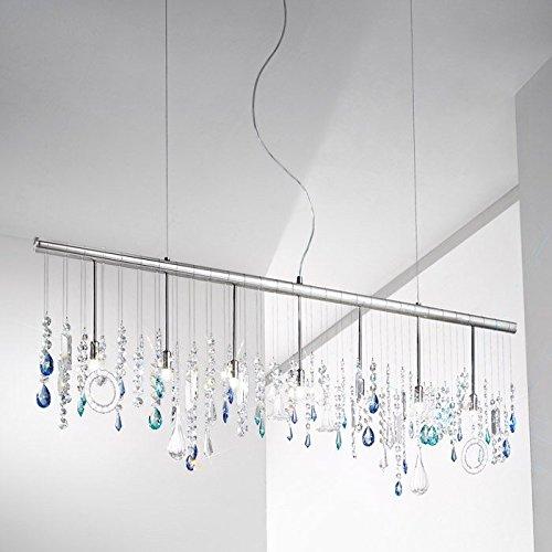 Stretta Murano Glas Kristall Kronleuchter Kolarz-Leuchten in Chrom blau transparent | Handgefertigt in Italien | Luster Modern Dimmbar | Lampe G9