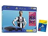 PlayStation 4 - Konsole (1TB, schwarz, slim) inkl. FIFA 19 + 2 DualShock Controller + PlayStation Plus 12 Monate Bundle