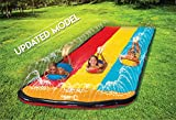Triple Lane Slip, Splash and Slide (Updated 2020 Model) for Backyards  Water Splash Slide With 3 Boogie Boards   16 Foot Three Sliding Racing Lanes with Sprinklers   Durable Quality PVC Construction