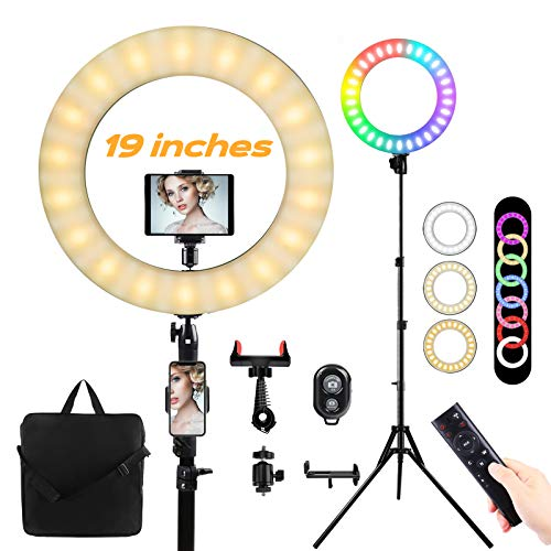 19 ''Anillo de luz LED con trípode Aro de luz Regulable10colores 23 Niveles de brillo 55W RGB FlashRing Light para maquillaje/Fotografía/VideoYouTube/Vlog/TIK Tok,Soporte telefónico,ipda, cámara