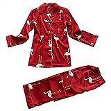 Pijama De Botones Mujer Set,Señoras Primavera Otoño Impreso Satén Ropa De Dormir Conjunto De Dos Piezas Ropa De Dormir Ropa De Dormir Fresca Y Sedosa De Manga Larga Tops Con Botones Pantalones B