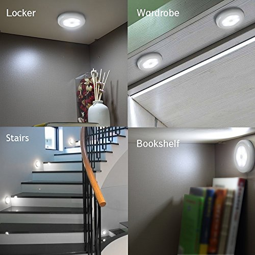 Novelty Place Super Bright LED Motion Sensor Lights - Cordless Battery Powered Built-in Magnets Optional Sticky Pads - Motion Sensing Bathroom Hallway Closet Nightlight - Pack of 6