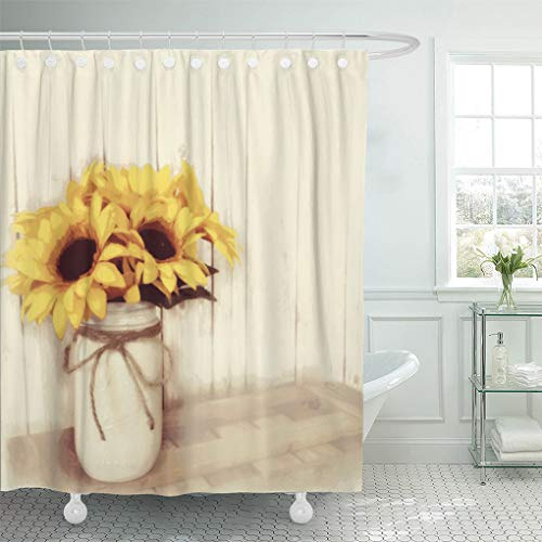 "Semtomn Shower Curtain Cabin Rustic Country Sunflowers Mason Old Store Barn Wood 66""x72"" Home Decor Waterproof Bath Bathroom Curtains Set with Hooks"