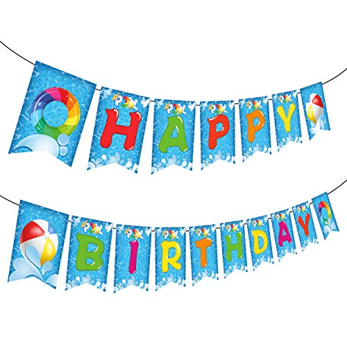 Happy Storm Pool Party Birthday Banner Decorations Happy Birthday Pool Party Banner Pool Party Garland for Kids Summer Swimming Birthday Party Favors