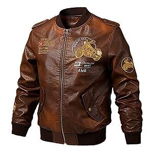 男性 レザージャケット。 スリムフィットコート メンズ スタンドカラーのコート。 バイカージャケット カジュアルなバイク PUジャケットフリース。 暖かさと防風性に優れています。 大判,ブラウン,3XL