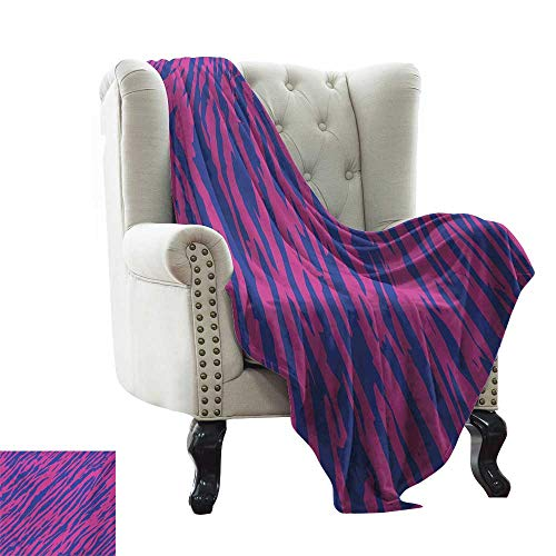 LsWOW - Manta de sofá de Cebra Rosa, patrón de Moda con Rayas de Cebra Coloridas, Tonos Pastel, étnica, Moderna, cómoda, Suave, Material Que te da un Gran sueño