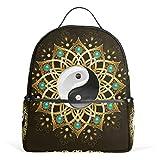 WowPrint Tribal Tai Chi Mandala - Mochila para el hombro, escuela, senderismo, viajes, mochila informal