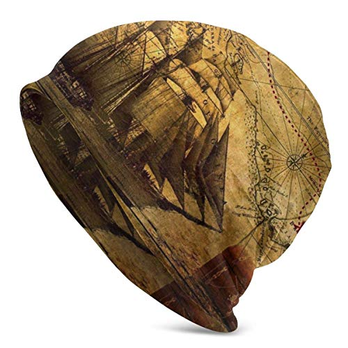 Rcivdkem Sombrero de Punto con Estampado de navegación de Mapa del Tesoro Antiguo Antiguo para Hombres, Mujeres, Sombreros de Punto cálidos elás