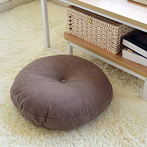 WANGS Tissu Lin Rond Style Japonais Tatami Coussin de siège, épaissie Coton Perle Coussin de Chaise Utilisé sur Chaise Swing Siège Doux Futon-G d:60*h:15cm