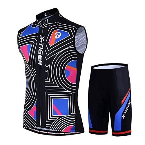 SMMOTUS Men's Summer Sleeveless Cycling Suits Set, Sports Outdoor Quick Dry Cycling Wear +3D Padded Gel Shorts Cycling Jersey Suit Breathable Mountain Bike Jersey (Color : Black, Size : 5XL)