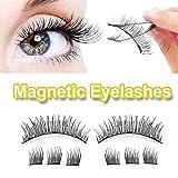 Magnetic Eyelashes, NO Glue 3D REUSABLE 3-Magnets False Full Size Lightweight Natural Look Magnet Lashes False Lash Extensions with false Lashes Applicator Tweezers (007)
