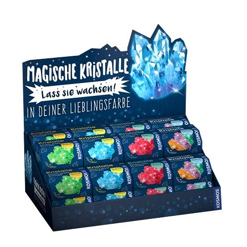 KOSMOS 976750 kristaller odla själv – display med 32 exemplar: 8 x röd, blå, grön, överraskningsfärg expertlåda, färgglad