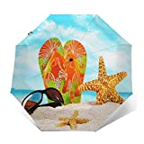 Paraguas Plegable Automático Impermeable Par de Chanclas Sand Starfish, Paraguas De Viaje Compacto a Prueba De Viento, Folding Umbrella, Dosel Reforzado, Mango Ergonómico