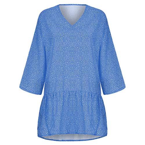 LOPILY Basic Gepunktes Kleid Große Größen Damen Volant Saum Basic Kleid Langarmkleid Herbst V-Ausschnitt Solide Swing Kleid für Mollige Lässige Lose Strandkleid Übergröße bis Gr. 48 (Blau,46)