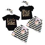 Puseky Baby Girls Big Little Sisters Trajes a juego Camisa Top con falda floral Conjunto de ropa con banda de sujeción (Color : Black, Size : Little Sister-0-3M)