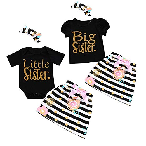 Puseky Baby Mädchen große kleine Schwestern passende Outfits Shirt Top Floral Rock Stirnband Kleidung Set (Color : Black, Size : Big Sister-1-2 Year)