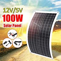 100W Solar Panel USB 12V/5V Flexible Solar Charger for Car RV Boat Battery Charger Waterproof