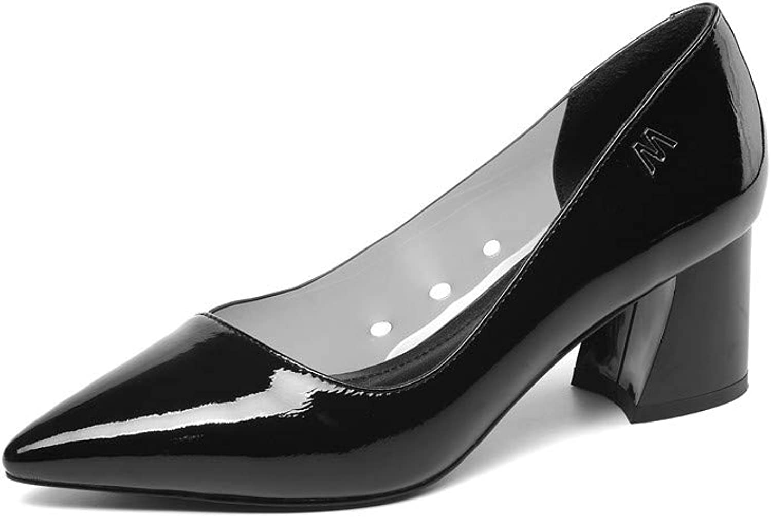 Nine Seven Glossy Patent Leather Women's Pointed Toe Mid Chunky Heel Graceful Handmade Transparent PVC Fashion Slip On Women Concise Style Cute Pumps