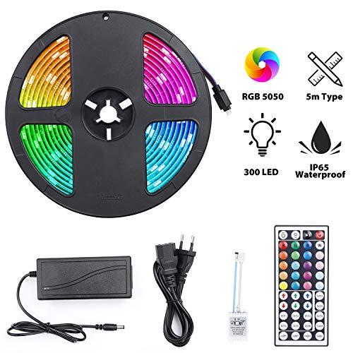Striscia LED RGB 300 LED, Strisce LED 5050 Impermeabile 5M per Esterni Interno, Nastri Led TV Retroilluminazione, Led Strip illuminazione con 44 tasti Telecomando IR per Giardino, Bar, Festa