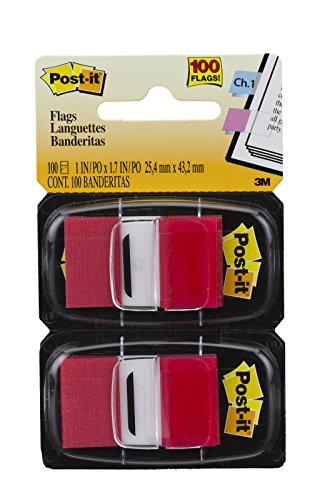 Postit Standard Page Flags in Dispenser  1in Wide Red 100 Flags 680RD2